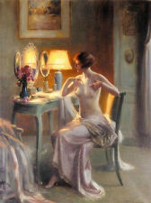 Art oil painting nude young woman nice beauty before mirror at night canvas