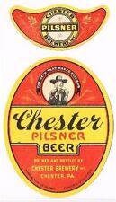 Scarce 1930s Chester Pennsylvania Beer 12oz label set Tavern Trove