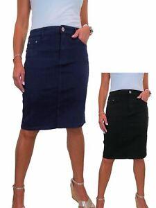 ICE Women's Knee Length Soft Jeans Skirt Ladies Very Stretchy Denim Skirt 10-22