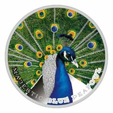 MAJESTIC BLUE PEAFOWL -  2019 1.05 oz $2 Proof Silver Coin - NIUE MINT OF POLAND