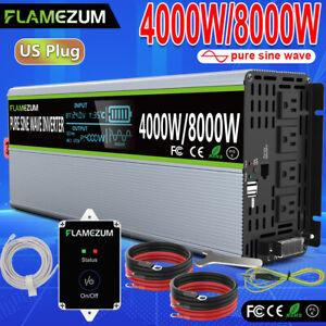 4000W/8000W Power Inverter DC 24V To AC 120V Converter Pure Sine Wave LCD&Remote