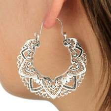 Hoop Earrings Ethnic Tribal Carved Hippie Boho Dangle Indian Silver Heart Round