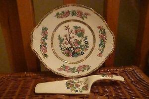 Vintage Indian Tree China Cake Plate & Cake Slice - Good Undamaged condition
