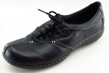 Clarks Size 7.5 M Black Lace Up Fashion Sneakers Leather Shoes
