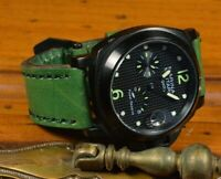 MA WATCH STRAP 26 24 22 GENUINE LEATHER VINTAGE BAND FITS PANERAI NIEBLA 8 GREEN
