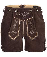 Tracht & Pracht Damen Lederhose Hotpants Dunkelbraun 100% Wildleder Gr. 34 - 42
