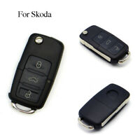 Uncut Blade 3 Buttons Flip Keyless Entry Remote Folding Key Fob Shell For Skoda