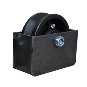 """4"""" V Groove Sliding Gate Cast Iron Roller Wheel Axle with Mounting Box"""