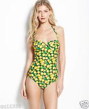 NWT Ann Taylor Lemon Print Halter One Piece Swimsuit POOL BEACH 341714 XS