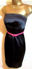 JANE NORMAN Black Stretch Satin Strapless Bodycon Dress 12 Hot Pink Belt
