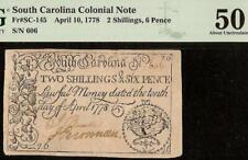April 10, 1778 South Carolina Colonial Currency Note Paper Money Sc-145 Pmg 50