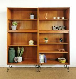 Pair of Vintage Mid Century Teak Retro G-Plan Bookcase Wall Shelves Hairpin Legs