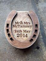 Engraved Plywood Personalised Horseshoe Box Ring Holder Wedding Handmade