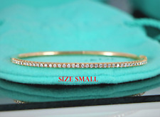 62ce991a4 $5,400 Tiffany & Co Metro 18K Rose Gold Diamond Hinged Bangle Bracelet  Small ...