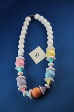 Pastel pink green blue yellow orange purple bead Necklace 18 inches long  (41)