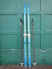 "VINTAGE  Wooden 70"" Skis Has BLUE Wood Finish with Bamboo Poles"