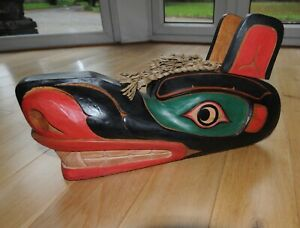 Hand Carved North American Indian Idaho Tribal Wooden Mask Large.