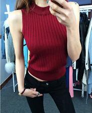 Women Mock Neck Tank Top Stretch Sleeveless Slim Fitted Knit Vest T Shirt Blouse