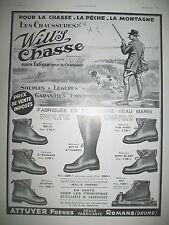 PUBLICITE DE PRESSE WILL'S POUR LA CHASSE LA PECHE CHAUSSURES FRENCH AD 1933