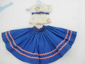"Vintage Ideal Little Miss Revlon Tagged Skirt Blouse Set Dress w/Box for 10"""