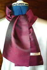 100% woven silk men's cravat/scarf/ascot  Navy blue polka dots on dark red  NEW