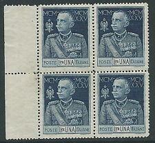 1925-26 REGNO GIUBILEO 1 LIRA D. 13 1/2 QUARTINA MNH **  - M10