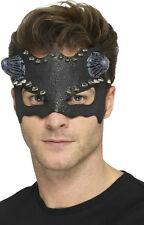 Smiffy's Black Devil Studded Eye Mask with Horns Adult Size Costume Face Mask