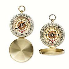 Compass Pendant Round Working Necklace Vintage Look Brass Hinged Cover