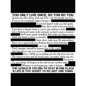 Motivational Manifesto Advice Typography Black White Large Canvas Wall Art Print