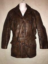 Vintage Leather Pilot Jacket W/ Belt Ralph Edwards Sportswear Inc Sz40