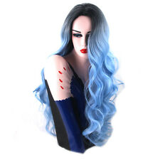 Lolita Black to Blue Ombre Wig Lady Wavy Curly Long Hair Costume Party + Wig Cap