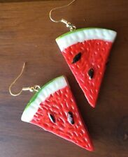 Novelty Water Melon Earrings Fruit Fancy Dress Lucite Vintage Carmen Miranda 50s