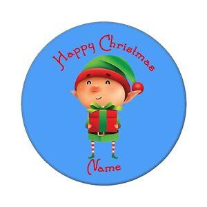 PERSONALISED CHRISTMAS ELF BADGES LARGE 58MM GIFT, SANTA, REINDEER, SNOWMAN