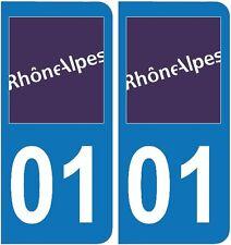 2 Stickers autocollant plaque d'immatriculation 01 - Ain  plaque 01 Art déco Sti