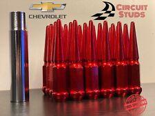 14X1.50 RED SPIKE LUG NUTS 24 PIECES FOR 6 LUG CHEVY SILVERADO, COLORADO, TAHOE