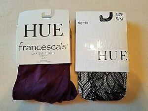 Hue Tights Lot of 2 francescas Opaque Slimming M/L Purple Floral Net Black S/M