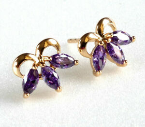 Women Stud Earrings Blue Lilac Clear Simulated Diamond 18K Yellow Gold Plated UK