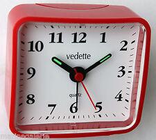 mini réveil de chevet Vedette analogique rouge clair vintage 70 inchangé neuf