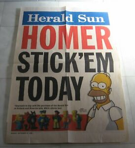 The Simpsons Banner Poster  - Herald Sun Stick Ems Figurines 2009 Homer Simpson