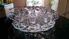Antique 12 Cup Punch Bowl on Platter with Footed Cups,Ladle.. All Original