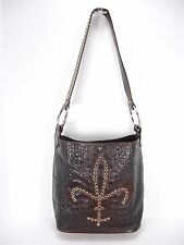 RAVIANI BROWN CROC MOC TOOLED LEATHER FLEUR DE LIS  STUDS CRYSTALS SHOULDER BAG