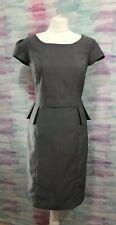 Next Grey Pencil Dress Size 12 Office Wear Sheath Peplum