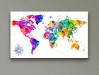 "World Map Modern Abstract Art Watercolour CANVAS PRINT 24""X 18"" White"