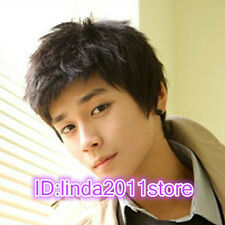 New handsome Men's boy short Black Natural Hair Wigs + wig cap gift