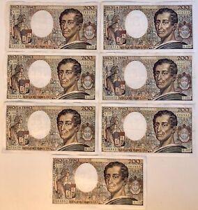 7 Billets France 200 Francs Montesquieu 1992 TTB