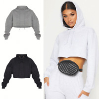 Ladies Women Oversized Crop Hoodie Sweatshirt Hooded Jumpers Winter