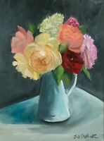 Large original oil painting on canvas floral realism 40 x 30 cm pink roses art
