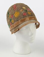 VTG 1920s NET MULTICOLOR VELVET CORDED EMBELLISHED FLAPPER CLOCHE HAT