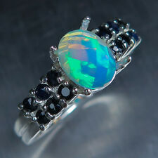 0.75ct Natural Welo Opal rainbow multicolour & sapphires 925 Silver silver ring