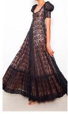 Stunning Biba Original Black Lace Over Beige Satin Full Maxi Dress Size 10